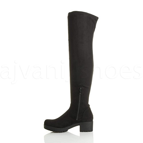 alta numero medio moda tacco Nero stivali ginocchio coscia blocchetto Donna sopra il grunge xw6T1CYq