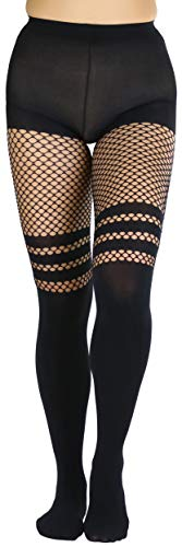 ToBeInStyle Women's Faux Thigh High Fishnet Combo Pantyhose - Black - OS