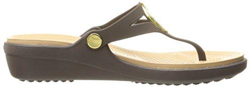 Crocs Kvinnor Sanrah Avfasade Cirkel Sandal Espresso / Guld