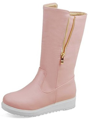 Easemax Women's Casual Round Toe Pull On Low Wedge Heel Mid Calf Snow Booties Pink WKE6yBl