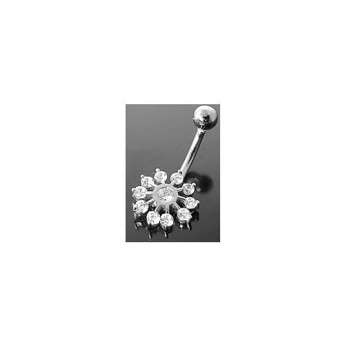 SNOWFLAKE 14K White Gold Belly Button Ring