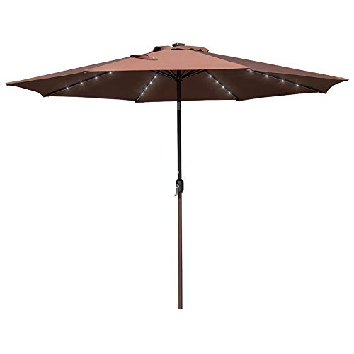 40 LED Lights Aluminum Patio Market Umbrella with Hand Push Tilt and Crank, Garden Pool Solar Powered Lighted Parasol, 8 Ribs, Coffee ()