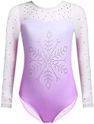 Zaclotre Kids Girls Long Sleeve Sleeve Sparkly Diamond Mesh Athletic Gymnastics Leotards