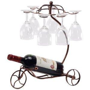 Amazoncom Wine Bottle Glass Cup Holder Bicyle Design Bronze