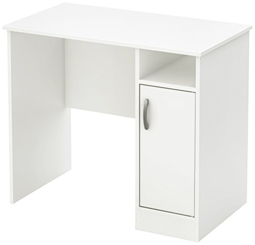 South Shore 7250075 Small Computer Desk with Door, Pure White