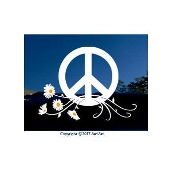 HIPPIE LIFE. Flower Power Daisy Peace Sign Car SUV Laptop Sticker Vinyl Decal.