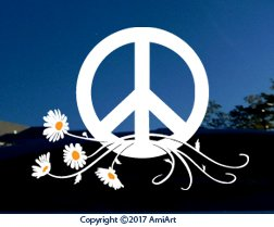 PEACE Sign Symbol Car Window Sticker Decal-LARGE WHITE & YELLOW Peace Daisy Flower Power VINYL sticker for car window laptop walls truck trailer by AmiArt (Image #4)