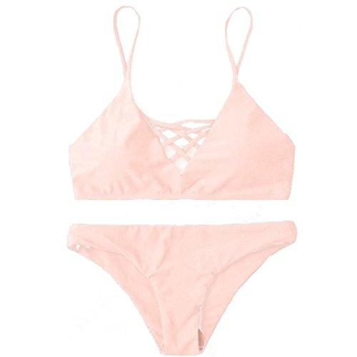 Koly Mujeres vendaje Push Up traje de baño Dos piezas de bikini conjunto Traje de baño tanga Rosado