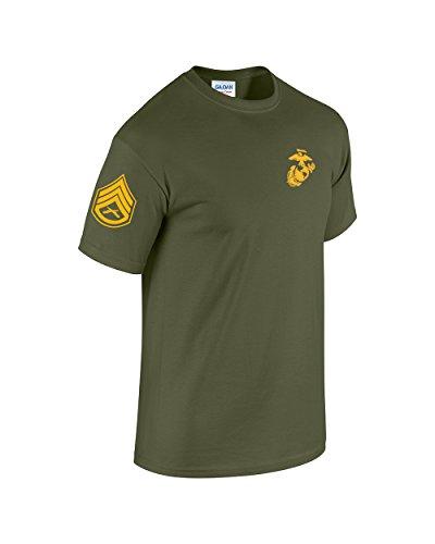 US Marine Corps Staff Sergeant T-Shirt w/ Chevron on Sleeve (Large, Military Green) ()