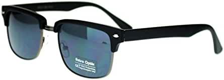Black and Gunmetal Square Half Rim Retro Style Sunglasses