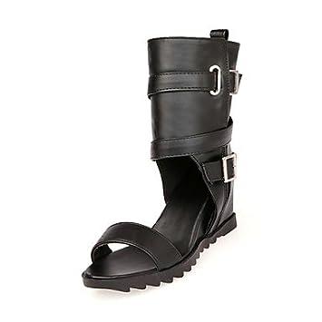 Zapatos de tacón de cuña BeMIX mujeres sandalias botines con hebilla vestido más colores disponibles Negro negro Talla:US7.5 / EU38 / UK5.5 / CN38: ...
