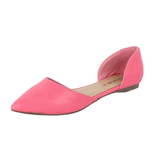 Womens Faux Leather D'Orsay Comfort Pointed Toes Flats Sandals, Pink, 7]()
