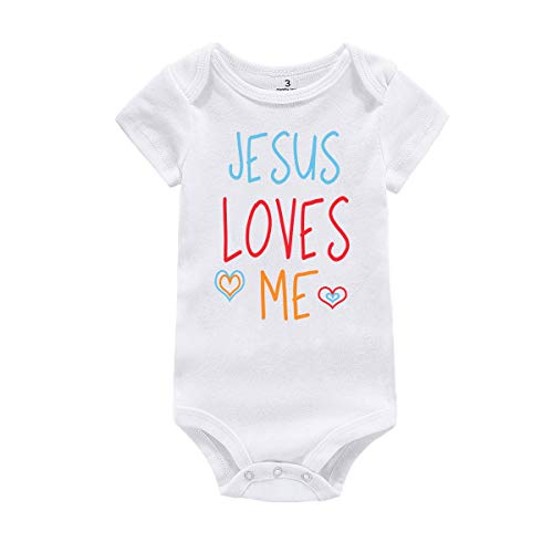 (WINZIK Baby Boy Girl One-Piece Bodysuit Romper Outfit Jesus Loves Me Onesie Jumpsuit Creeper Shirt Clothing (6 Months, White))