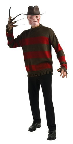Nightmare On Elm Street Deluxe Freddy Sweater, Red/Black, Standard Costume - Adult Freddy Sweater