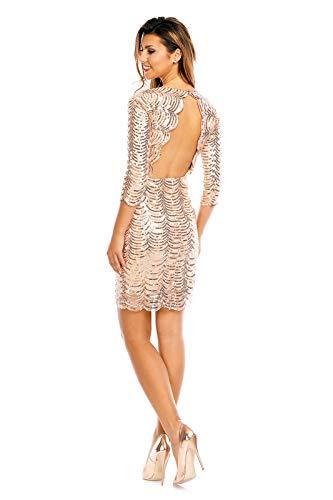 Vestito Maniche lunghe Sera Gold Rückenfrei Donna Fashion ZwzdqEZ