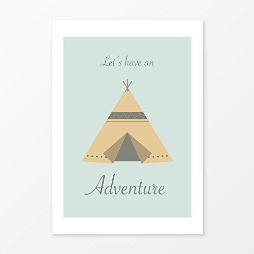 Teepee Tent for Kids Print, Size 5x7, 8x10, 11x14 and more, Great Nursery Wall Art