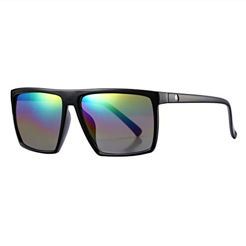 Square Sunglasses for Men Women Oversized Cool Retro Brand Designer Sun Glasses (Black Frame/Rainbow Mirror Lens)