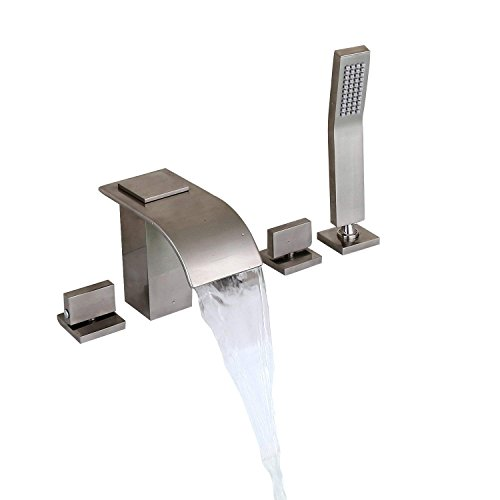 KunMai Brushed Nickel Widespread Waterfall Roman Tub Filler Faucet with Handheld Shower