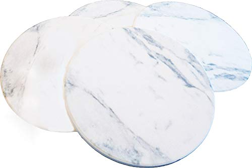 CERAMIC COASTERS - ABSORBENT FAUX MARBLE - Set of 4, Cork Backing Thirsty Stone Ceramic by Ovation Home.