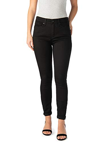- Signature Women's High Rise Ankle Skinny 5 Pocket Cuff Jeans (4) Black