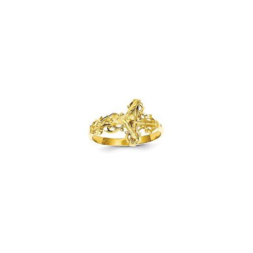 Diamond Cut Crucifix Ring - Roy Rose Jewelry 14K Yellow Gold Diamond-cut Crucifix Ring ~ Size 6.5