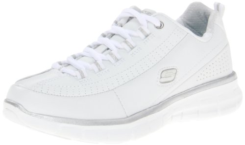 Skechers Sport Women's Synergy Elite Status Training Sneaker,White/Silver Leather,8 M US