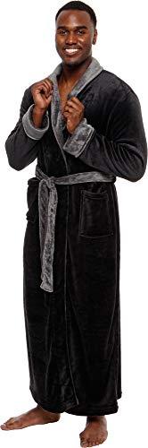 Ross Michaels Men's Big and Tall Full Length Long Bathrobe House Coat Pajamas (Black & Grey, L/XL) (Homer Simpson Just It Do)