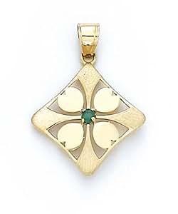 14ct esmeralda sintética 4-Leaf Clover Colgante - JewelryWeb