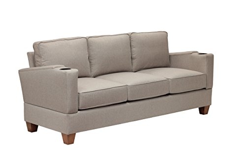 Simplicity Sofas 13ACHSEEGG-SS the Designer Collection Solid Oak Frame RTA Full Size Sofa for Small and Tight Places with cup holders, Sand Stone