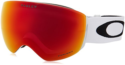 Oakley OO7050-35 Men's Flight Deck Snow Goggles, Matte White, Prizm Torch Iridium, Large