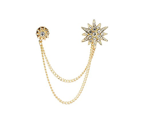 Knighthood Men's Golden Swarovski Star and Sunshine with Hanging Chain Brooch Golden