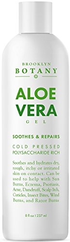 Brooklyn Botany Aloe Vera Gel - from Organic Cold Pressed Aloe - Soothes and Hydrates Dry, Itchy, or Irritated Skin; great for Acne, Dandruff, Sunburn, Rashes - 8 oz