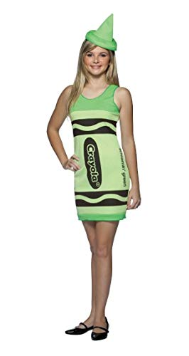 Rasta Imposta Crayola Crayon Tank Dress Junior Costume, Screamin' Green, Teen Size 13-16