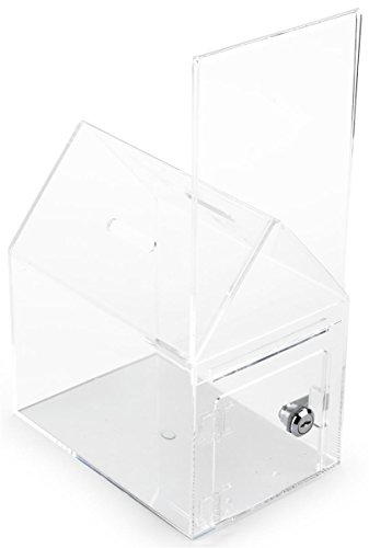 Displays2go Set of 2 - House Shaped Donation Box, Countertop Mount, with Sign Holder(HSEDONATE)