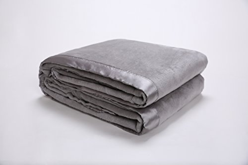 Winter Weight Silk Blanket - Style Homes Premium Quality Silk Bed Blanket With Silk Sateen Fabric Border, Lightweight and Warm, Full/Queen, Silver Gray