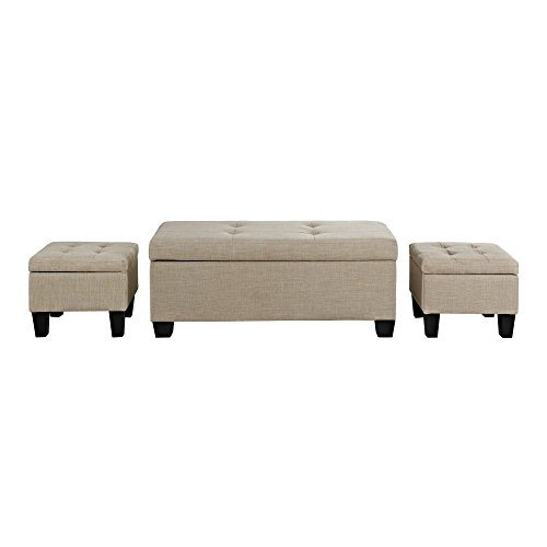 Picket House Furnishings Everett Storage Ottoman Natural/3 Piece For Sale