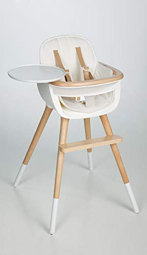OVO Max Luxe Convertible High Chair with Leather Strap with White Fabric Pad