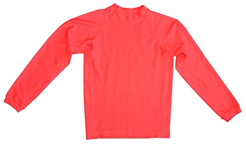 Long Sleeve Rash Guard - Youth and Adult - 5 Colors: Cream, Orange, Pink, Red, Yellow (Red, Medium (Youth))