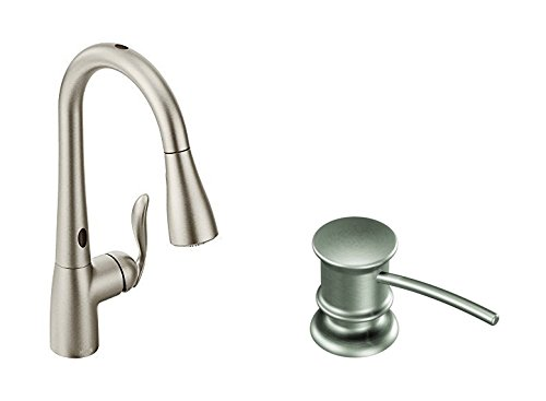 - Moen Arbor Motionsense Two-Sensor Touchless One-Handle High Arc Pulldown Kitchen Faucet Featuring Reflex, Spot Resist Stainless (7594ESRS) with Kitchen Soap and Lotion Dispenser