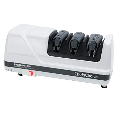 Chef'sChoice 120 Diamond Hone EdgeSelect Professional Electric Knife Sharpener for 20-Degree Edges Diamond Abrasives Precision Guides for Straight and Serrated Knives Made in USA, 3-Stage, White
