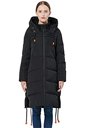 Orolay Women's Thickened Contrast Color Drawstring Down Jacket Hooded Black L