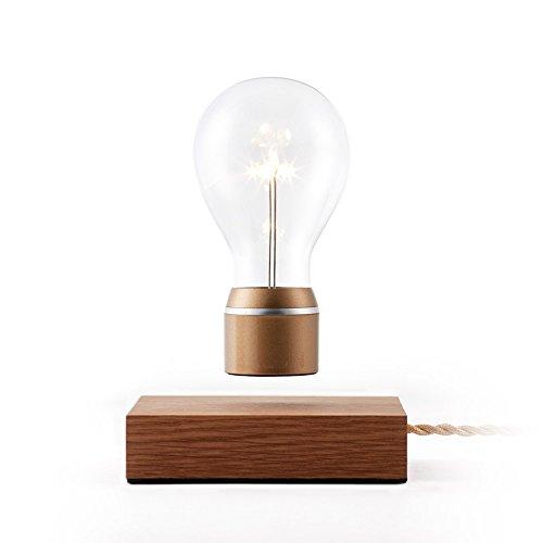 FLYTE Royal - Original, Authentic Floating Levitating LED Light Bulb (Oak Base, Gold Cap Bulb)