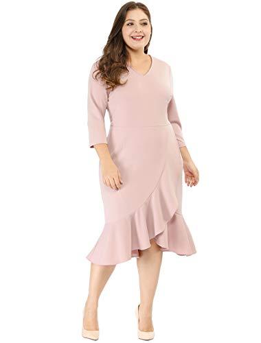 Agnes Orinda Women's Plus Size Wrap Cocktail V-Neck Ruffled Midi Dress Pink 2X
