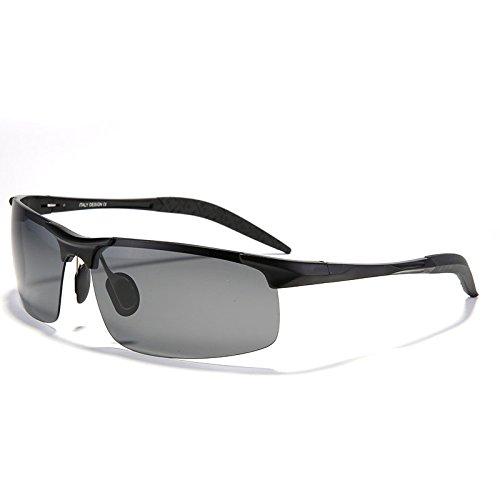 para gafas UV400 moda Il hombres TIANLIANG04 irrompible polarizado de magnesio sol de nero Negro de Guía de sol de aluminio macho aleación gafas Zd7qUx
