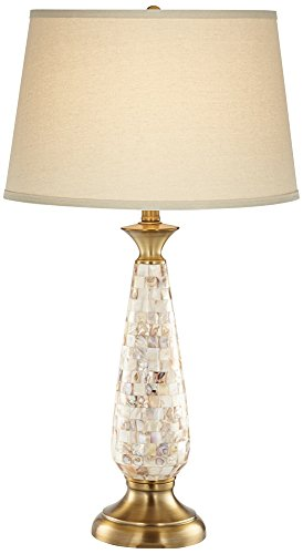 Berach Mother of Pearl Brass Glass Table Lamp