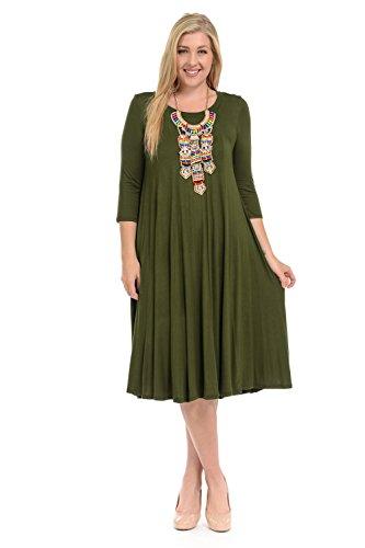 Pastel by Vivienne Women's A-Line Trapeze Midi Dress Plus Size XX-Large Olive for $<!--$23.99-->