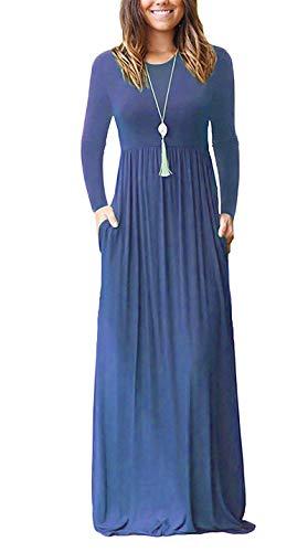 (AUSELILY Women Long Sleeve Loose Plain Maxi Dresses Casual Long Dresses with Pockets (M, Beja Blue2))
