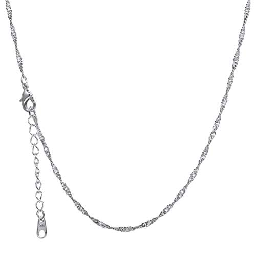 (Suplight 2mm Water Wave Chain Platinum Plated Adjustable Chain 22inches Necklace Chain for Men/Women)