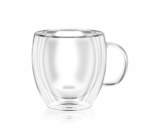 Double wall insulated glass Espresso mugs, 5.6 Ounces (set of 2 + 2 - Spoon Set Cappuccino