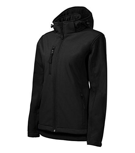 Damen Outdoor Softshelljacke mit Kapuze - Winddicht Funktions Regen Wasserabweisend Atmungsaktiv Tailliert Jacke (Schwarz, XL)